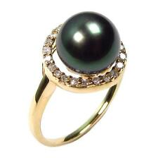 9-10mm Tahitian Black Pearl 3.0g 14K Yellow Gold 1/5 ct Diamond Ring