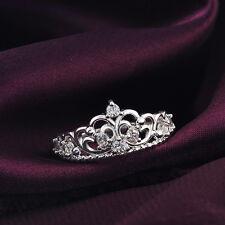 Fashion 925 Sterling silver Zircon cute crown women wedding Austria crystal Ring
