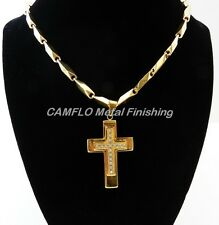 24K Gold Plated 3D CROSS w/Crystals and Necklace