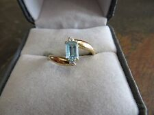 Vintage ART DECO/ 1940s.14K Yellow Gold  Ring with Aquamarine . Accents Size 7