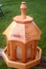 Small handmade Red oak wood gazebo style bird feeder, The Birds Nest