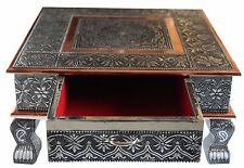 "15"" x 15"" Indian Bajot Bajoth Puja Chowki Table Low Table with Storage Drawer"