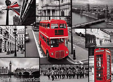 Londres autobús rojo y lugares de interés Montage - 3d Moving Picture Cartel 400mm X 300 Mm (nuevo)