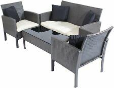 WICKER TABLE SOFA CHAIR RATTAN SET GARDEN CONSERVATORY OUTDOOR CREAM FURNITURE