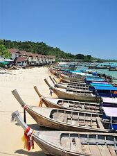 PHOTO SEASCAPE MOTOR BOAT BEACH PHUKET THAILAND TROPICAL SAND SEA PRINT BMP10166
