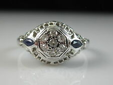 Antique 18K Old European Cut Diamond Sapphire Ring Art Deco Estate Vintage Fine