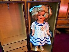 """Early Shirley Temple 15"""", Orig.Stand Up & Cheer Dress W/Rare Size Suitcase SALE*"""