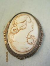 LATE VICTORIAN CELLULOID CAMEO & FANCY GILT METAL OVAL PIN - C) 1900