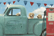 "GOLDEN RETRIEVER YELLOW DOG ART PRINT RETRO STYLE POSTER ""Let's go for a Ride"""