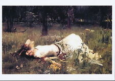 Waterhouse Pre-Raphaelite Print Portrait Ophelia Hamlet Pick Wild Flower Meadow