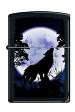 Zippo 0024 wolf howling at moon black matte full size Lighter