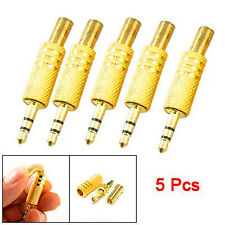 "5Pcs 1/8"" 3.5mm Gold Male Plug Coax Cable Audio Adapter Connector Solder LW SZUS"