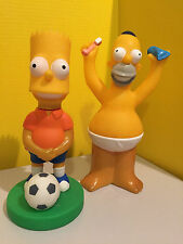 "Bart And Homer Simpson 10"" Figures Bart Playing Football Homer Brushing Teeth"