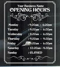 Customized Business/Opening Hours Window/Wall Decal for Shops, Large 33cm x 40cm