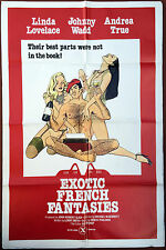 EXOTIC FRENCH FANTASIES - Orig. X-Rated Adult Movie Poster w/ Ron Jeremy COA