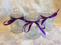 3 X Small Vintage Ribbed Glass Sweet Jar With Glass Lid, Candy, Wedding Favour