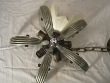 Antique Art Deco 5 Light Slip Shade Chandelier LQQK!!