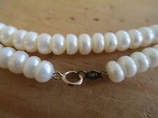 Freshwater White Button Pearl Necklace & Bracelet Set w/ 10Kt. Gold Clasps !