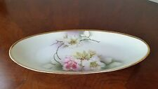 Vintage Hand Painted Gold Trim Rose Oval Serving Dish ,Germany 54 Raised Relief