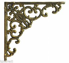 "Shelf Bracket Ornate Curls Decorative Gold Cast Iron Wall Brace Decor 7.75"" DIY"