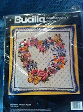 """NEW 1990 BUCILLA """"BUTTERFLY WREATH"""" PILLOW KIT #4635"""