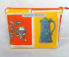 Vintage Fabric Make Up Bag Zip Purse 1950's Still Life Kitchenalia Orange & Turq