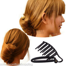 Women DIY Hair Styling Updo Bun Comb Clip Tool Formal French Twist Maker Holder
