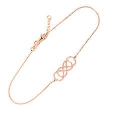 14K Rose Gold Double Knot Infinity Dainty Bracelet