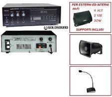 SET IMPIANTO SONORIZZAZIONE AMPLIFICATORE CD USB 4 CASSE MICROFONO DIFF. TROMBA
