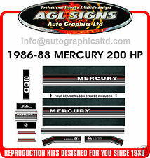 1986 - 1988 MERCURY 200 Black max Outboard decals, 135 150 and 175 hp available