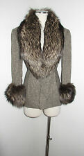 ZANG TOI BROWN TWEED WOOL FUR TRIM COLLAR + CUFFS JACKET 2