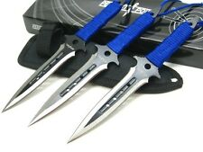 PERFECT POINT Blue Cord Wrap THROWERS Throwing Knives 3 Piece Knife Set + Sheath