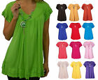 Womens Frill Necklace Gypsy Ladies Tunic V Neck Summer Tops Plus Sizes 12-28