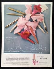 1959 Lady Sheaffer fountain pens pencils pink orchid Sheaffer's vintage print ad