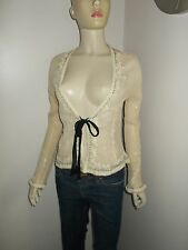 Womens Zara 100% silk embellished top blouse size L 10 UK 38 Eu