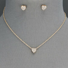 Gold Chain Dainty Small Clear Rhinestone Heart Pendant Necklace With Earrings