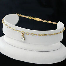 "9"" FANCY OPEN link 14K GOLD EP Dangling 5mm CRYSTAL Anklet Ankle Foot Chain 