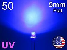 50pcs 5mm UV - Purple Flat LED - Wide Ultra Violet Water Clear Diode - DIY