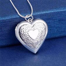 925 Silver Heart Photo Locket Pendant Chain Necklace Valentines Love *UK*