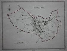 Original antiguo mapa Cambridge ciudad político Samuel Lewis, J&C Walker, c.1835
