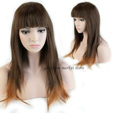 USA Ladeis Fring Blunt Bangs Wig Natural Full Wigs Hair Nets Brown To Coffee New