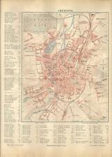 Carta geografica antica CHEMNITZ Pianta della città Germany 1890 Old antique map