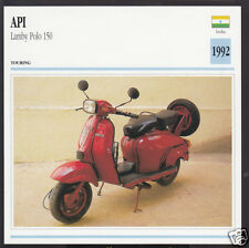 1992 API Lamby Polo 150 India Scooter Moped Bike Motorcycle Photo Spec Info Card