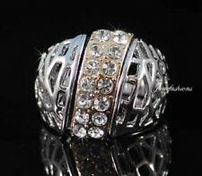 FASHION COCKTAIL RING -SIZE7- AUSTRIAN RHINESTONE CRYSTAL GOLD PLATED GP B1133W