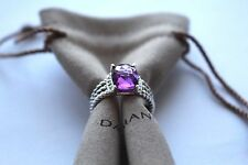 DAVID YURMAN PETITE SILVER WHEATON RING WITH AMETHYST AND DIAMONDS SIZE 7