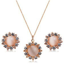 Lady Sunflower Pendant Necklace&Earring Opal Jewellery Sets 18K Rose Gold Plated