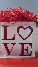 "Christmas Valentine ""LOVE"" RED Decal for YOUR Glass Block Night light"