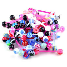 10 Pcs Mixed Steel Ball Tongue Nipple Bar Ring Barbell Body Piercing Jewelry