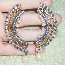 Vintage Ethnic Gold Tone Huge Giant Faux Pearl CZ Indian Stud Drop Earrings