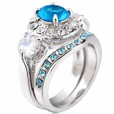 Size 5-11 Silver Plated Rhodium Blue Sapphire Wedding Engagement Propose Ring